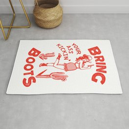 Bring Your Ass Kicking Boots! Cute & Cool Retro Cowgirl Design Rug