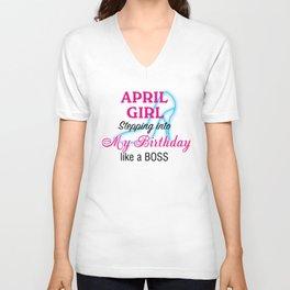 April Girl Birthday Unisex V-Neck