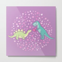Cute Dinosaurs in Love, T-Rex is Giving a Heart to a Stegosaurus, Pastel Violet, Green, Mint Colors Metal Print