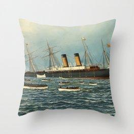 Vintage Illustration of The SS Oregon Sinking (1902) Throw Pillow