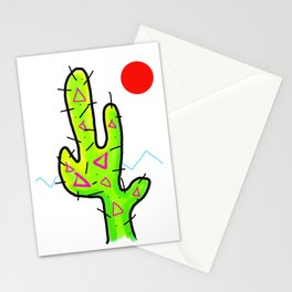 Funky Neon Cactus, Red Sun, 80s 90s style Stationery Cards