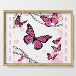 Pink Butterflies Serving Tray