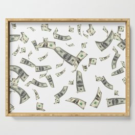 Money,dollars,prosperity pattern Serving Tray