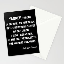 Ambrose Bierce's Quote On Yankee, White Text, Black Background Stationery Cards