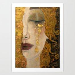 Golden Tears (Freya's Heartache) portrait painting by Gustav Klimt Art Print