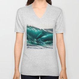 Crystal Clear High Surf - Scarborough Beach, Narragansett, Rhode Island Unisex V-Neck