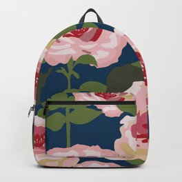 Peonies before the rain, pink peonies on dark blue background Backpack