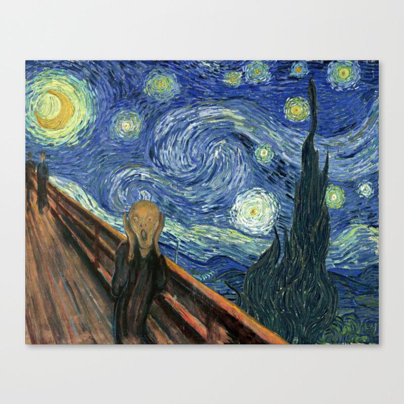 The Scream Starry Night Edvard Munch Vincent Van Gogh Canvas Print