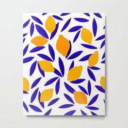 Blue and yellow Lemon Summery Pattern Metal Print