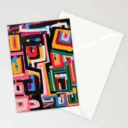Neo Cubism Abstract Art Pattern Mystic Stationery Cards