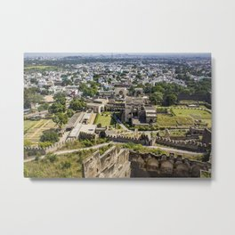 Looking down at the Ruins of Golconda Fort, into the Old Area of the City in Hyderabad, India Metal Print
