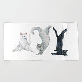 Yoga cats Beach Towel