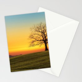 Lonely Tree On Hillside At Sunset Ultra HD Stationery Cards