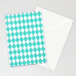 Rhombus (Turquoise/White) Stationery Cards