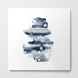 Indigo Abstract Watercolor No.1 Metal Print