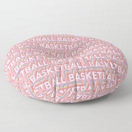 Basketball Trendy Rainbow Text Pattern (Pink) Floor Pillow
