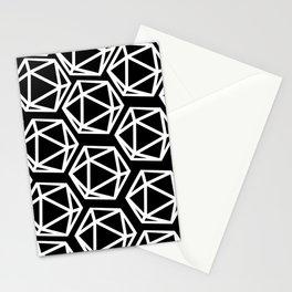 D20 Pattern - White & Black Stationery Cards