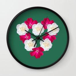 Rose Heart Emerald Wall Clock