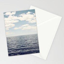 Dark Blue Ocean Seascape, Navy Sea Landscape Photography, Beach Clouds Horizon, Coastal Photo Stationery Cards