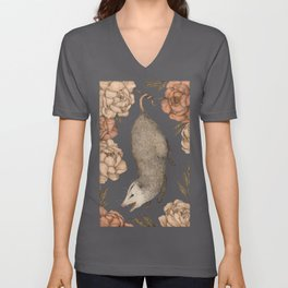 The Opossum and Peonies Unisex V-Ausschnitt