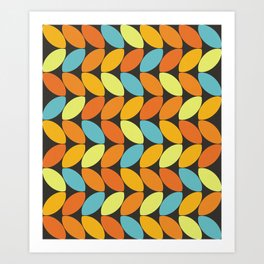 Retro 70s Color Palette Leaf Pattern II Art Print