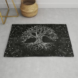 Tree of Life Drawing Black and White Rug