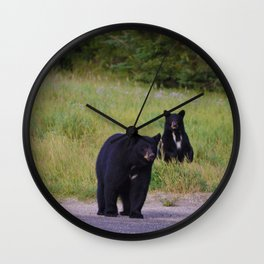 Black bear mother & cub in Jasper National Park Wall Clock