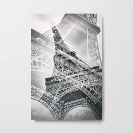 Eiffel Tower Double Exposure Metal Print