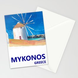 Mykonos Greece Windmill, Sea and Little Venice Travel Retro Poster Stationery Cards