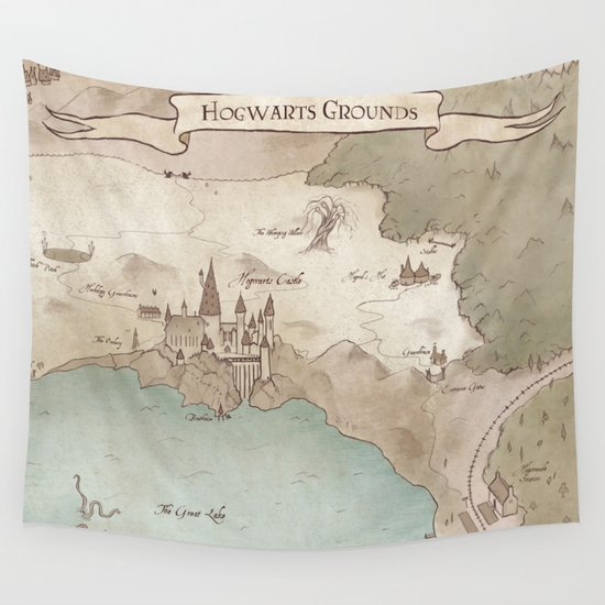 map of hogwarts wall tapestry