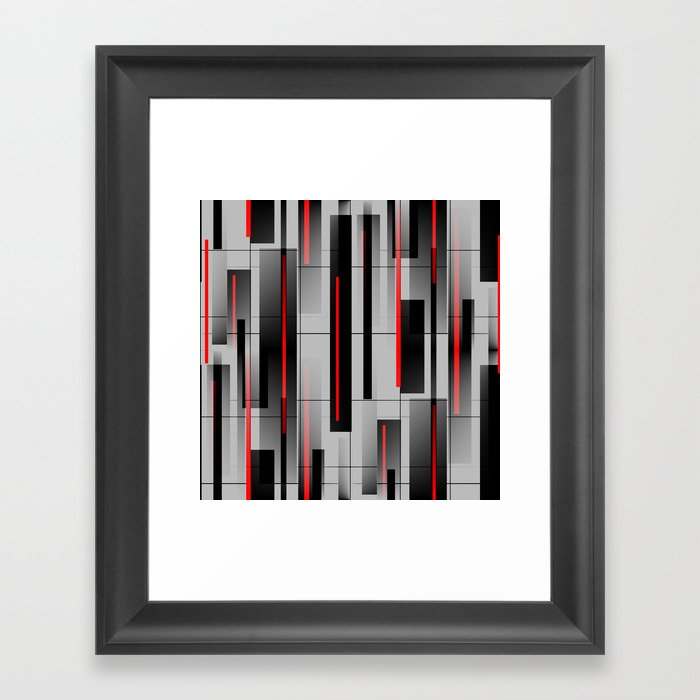 Off the Grid - Abstract - Gray, Black, Red Gerahmter Kunstdruck