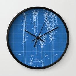 Lacrosse Stick Patent - Lacrosse Player Art - Blueprint Wall Clock