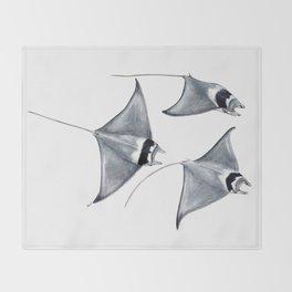 Devil fish Manta ray Mobula mobular Throw Blanket