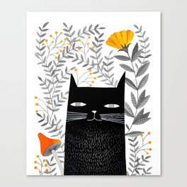 black cat with botanical illustration Canvas Print