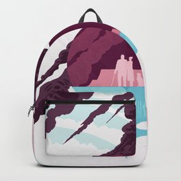Enceladus Retro Space Travel Poster muted mauve Backpack