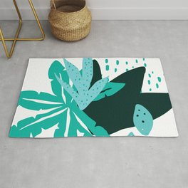 Modern Tropical Flowers & Leaves Graphic Designs Rug