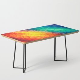 Abstract Polygon Multi Color Cubism Low Poly Triangle Design Coffee Table