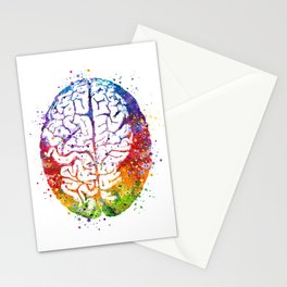 Human Brain Watercolor Stationery Cards