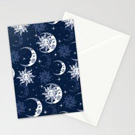 Super Dark Sun & Moon Pattern Stationery Cards