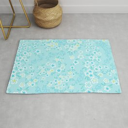 Forget Me Knot - Little Flowers on aqua Rug