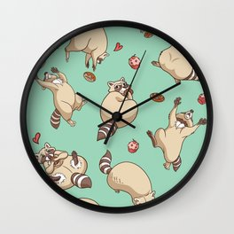 Raccoons Love Wall Clock