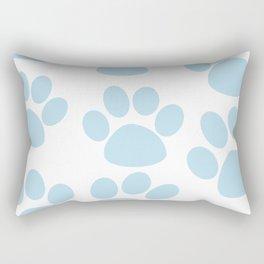 Puppy Paw Prints Blue Rectangular Pillow