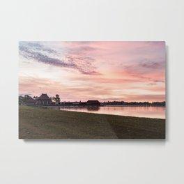 Sunrise at Lake Palic, Serbia / Purple / Pink / Violet Metal Print