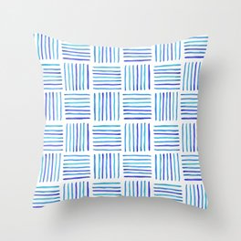 Sideways Stripes - Blue Watercolor Pattern Throw Pillow
