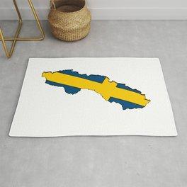 Sweden Map with Swedish Flag Rug