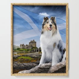 Blue Merle Rough Collie at Eilean Donan Castle - Variant with Scottish Flag Serving Tray
