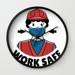 WorkSafe with respirator Wall Clock