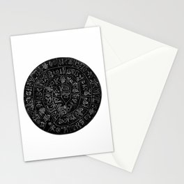 Phaistos Disc - Minoan Bronze Age Undeciphered Hieroglyphs - Black and White Minimalism Stationery Cards