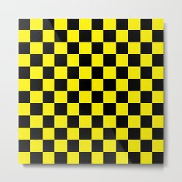 Checkered Black and Yellow Metal Print