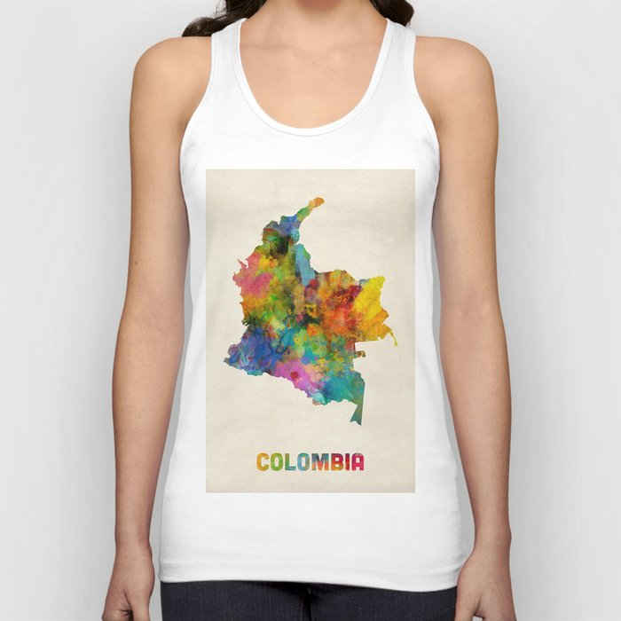 Colombia Watercolor Map Unisex Tanktop
